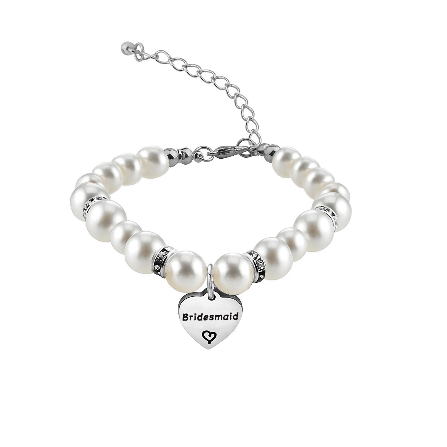 Zuo Bao Bridesmaid Jewelry Gift Crystal Pearl Bracelet for Chief/Junior Bridesmaids (Bridesmaid)