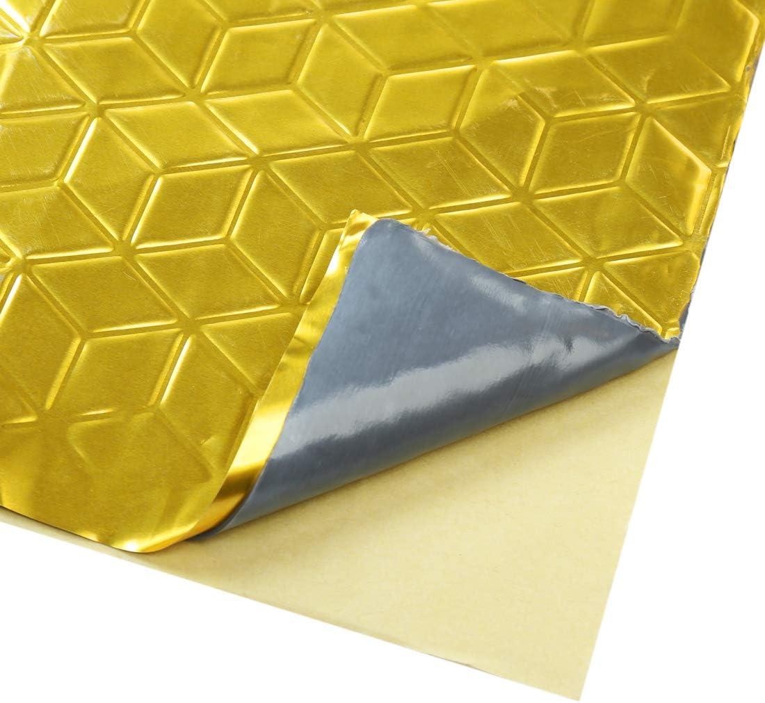 uxcell 10pcs Gold Tone 80mil 40sqft Sound Deadener Heat Insulation Deadening Mat Pad