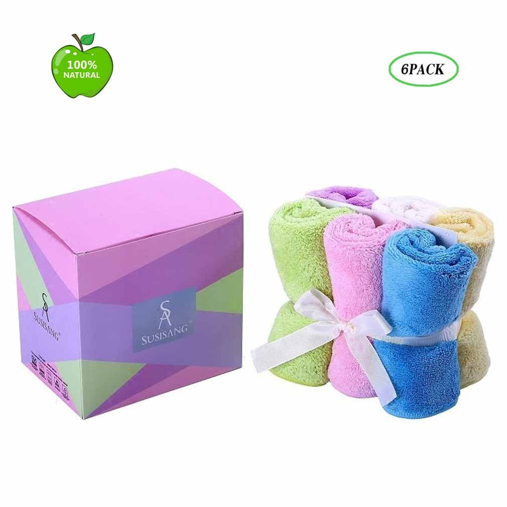 Face Towels Set 1 Pack Multi-Color 6-Pieces Microfiber Quick Drying Antibacterial Hand Towel for Bathroom (12''X12'')Μlti-Purpose Highly Absorbent Extra Soft for Baby, People,Hand, Gym & Spa ,Car,Pet