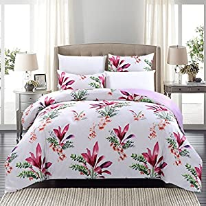 SUSYBAO 3 Pieces Duvet Cover Set 100% Natural Cotton Sateen King Size Floral Print Bedding Set 1 Reversible Duvet Cover 2 Pillowcases Luxury Quality Silky Soft Hypoallergenic Durable with Zipper Ties