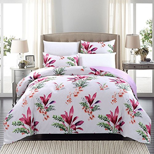 SUSYBAO 3 Pieces Duvet Cover Set 100% Natural Cotton Sateen Queen Size Floral Print Bedding Set 1 Reversible Duvet Cover 2 Pillowcases Luxury Quality Silky Soft Hypoallergenic Durable with Zipper Ties (Cotton Tropical Comforter)