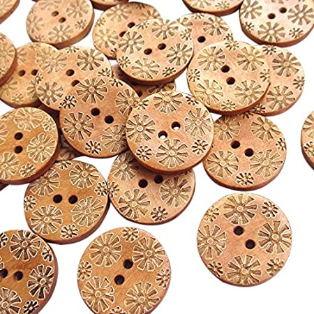 New Mix 50pcs Brown Carve Flowers Wood Sewing Buttons Bead 25mm Craft