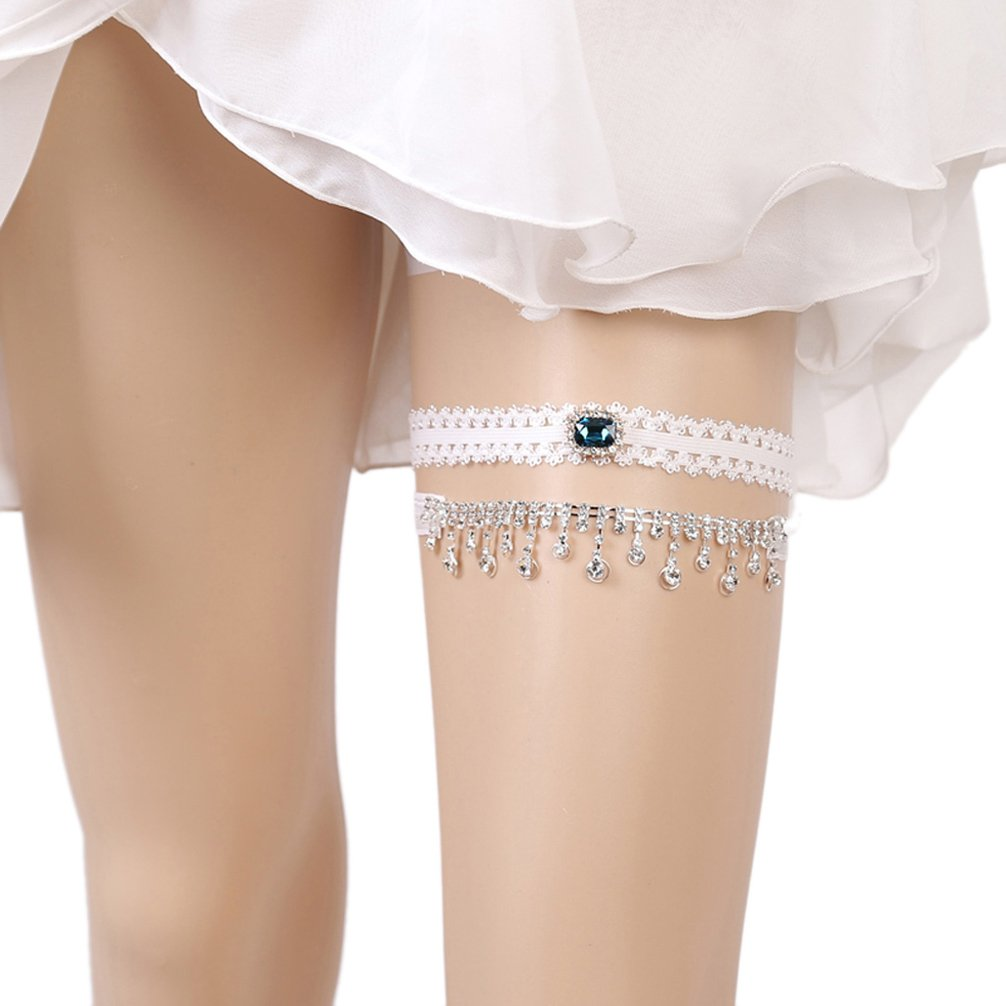 Belyee Women 2018 Lace Wedding Garters for Bride Prom Garter Set with Rhinestone LEG12