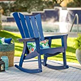 Admiral Blue Adirondack Style Rocking Chair Outdoor Patio Porch Rocker