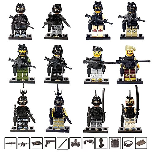 Fam Le Fun 12 pcs SWAT Police Officer Soldier Minifigures With Military Accessories & Weapons Set Cake Toppers 1.5 inch Building Block Toys