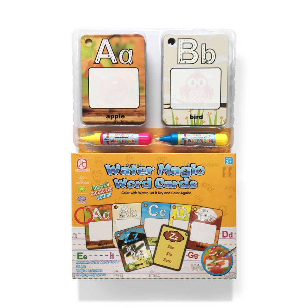Doodle Word Cards with Color Box,My First Water Magic Word Cards Games,Colouring Drawing Card with 2 Water Pen-Animal Junsee