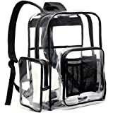 Clear Backpack, BuyAgain Heavy Duty Clear Backpack Stadium Approved School Backpack with Laptop Compartment, Transparent Large Backpack for College, Work