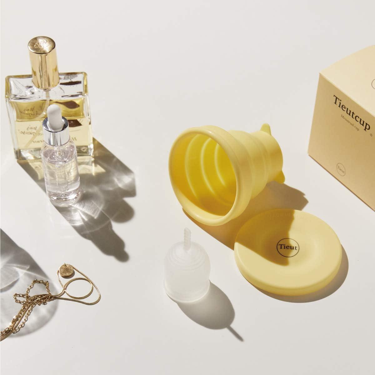 Tieutcup - Copa menstrual (tamaño grande (42 ml) – taza de flujo pesado más cómoda, taza activa para principiantes, flexible, reutilizable de grado ...