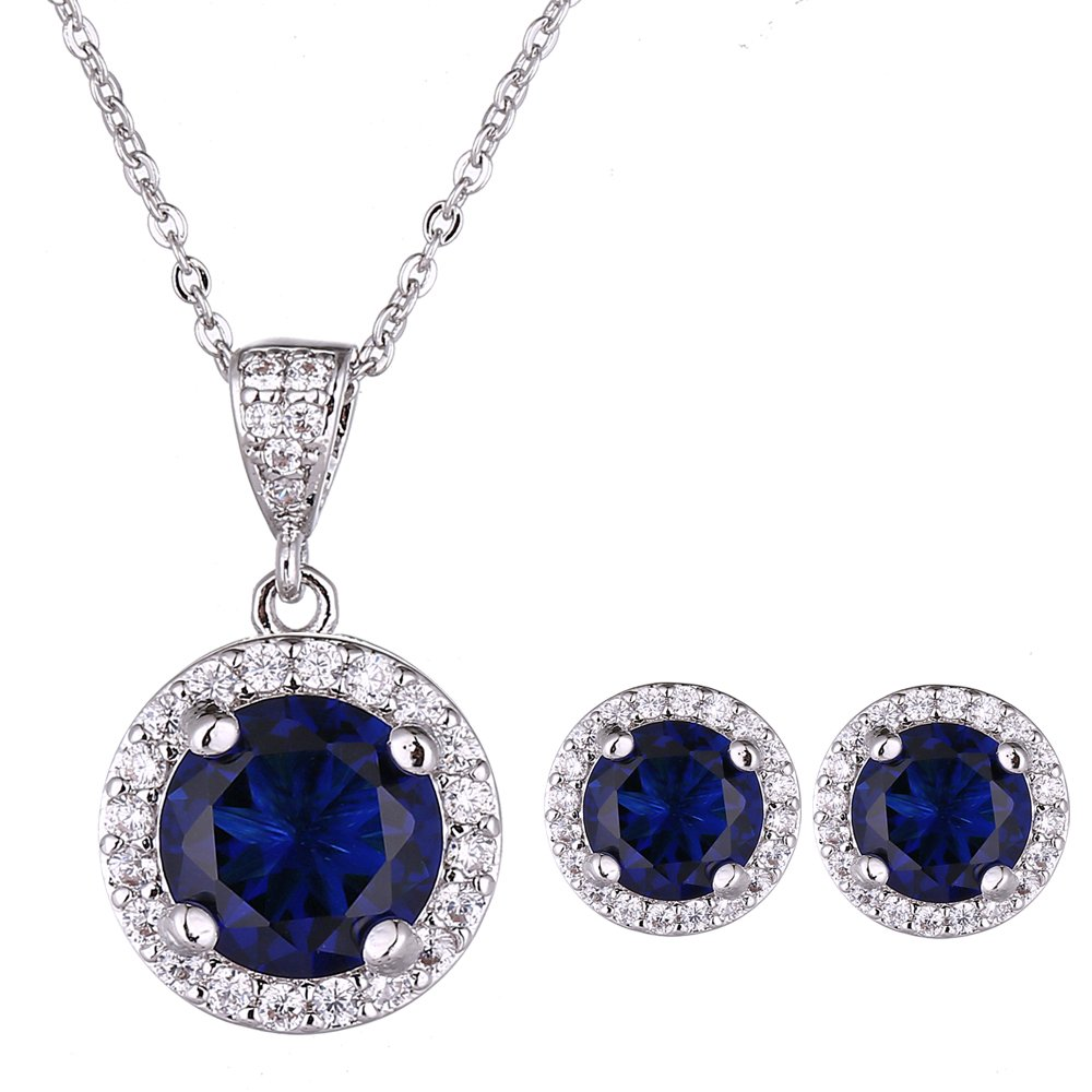 AMYJANE Jewelry Set for Women Blue - Silver Round Cut Crystal Navy Blue Sapphire Rhinestone Necklace Earrings Set September Birthstone Jewelry Pop Style for Girls Party Prom Birthday Gift by AMYJANE (Image #5)