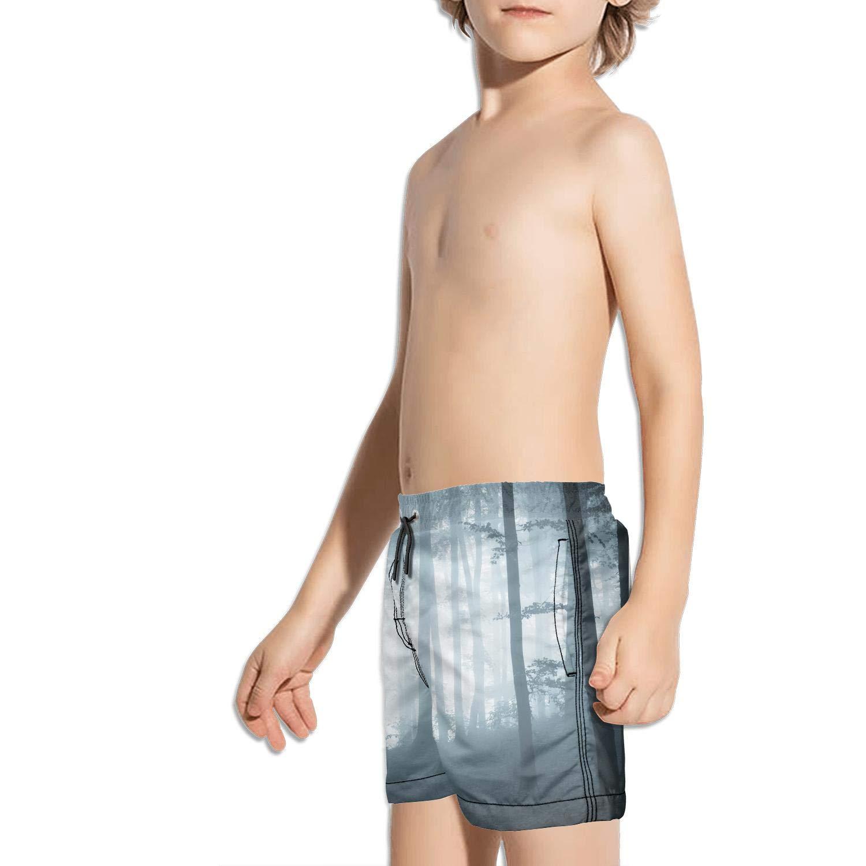 Boys Summer Casual Swimming Shorts Flame Musical Instrument Beach Board Shorts
