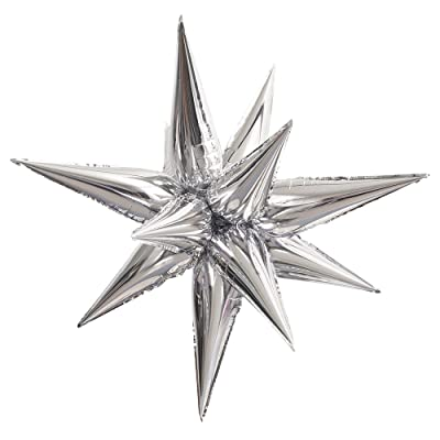 Large Foil 12 Point Silver Star Balloon: Kitchen & Dining