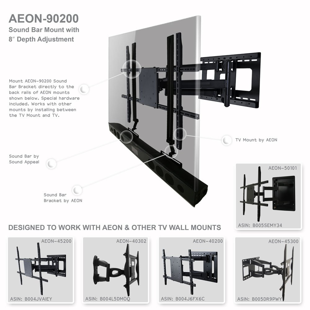 Amazon.com: Soundbar Speaker Mount with Depth Adjustments for TV Wall Mount  Brackets: Home Audio & Theater - Amazon.com: Soundbar Speaker Mount With Depth Adjustments For TV