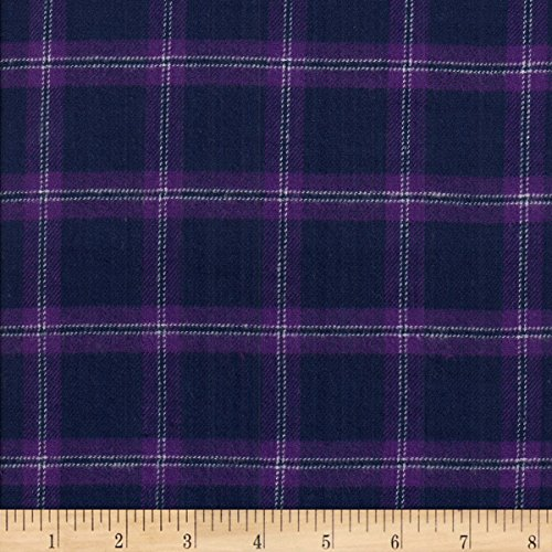 (Textile Creations Windstar Twill Flannel Plaid Navy/Purple Fabric by the Yard )