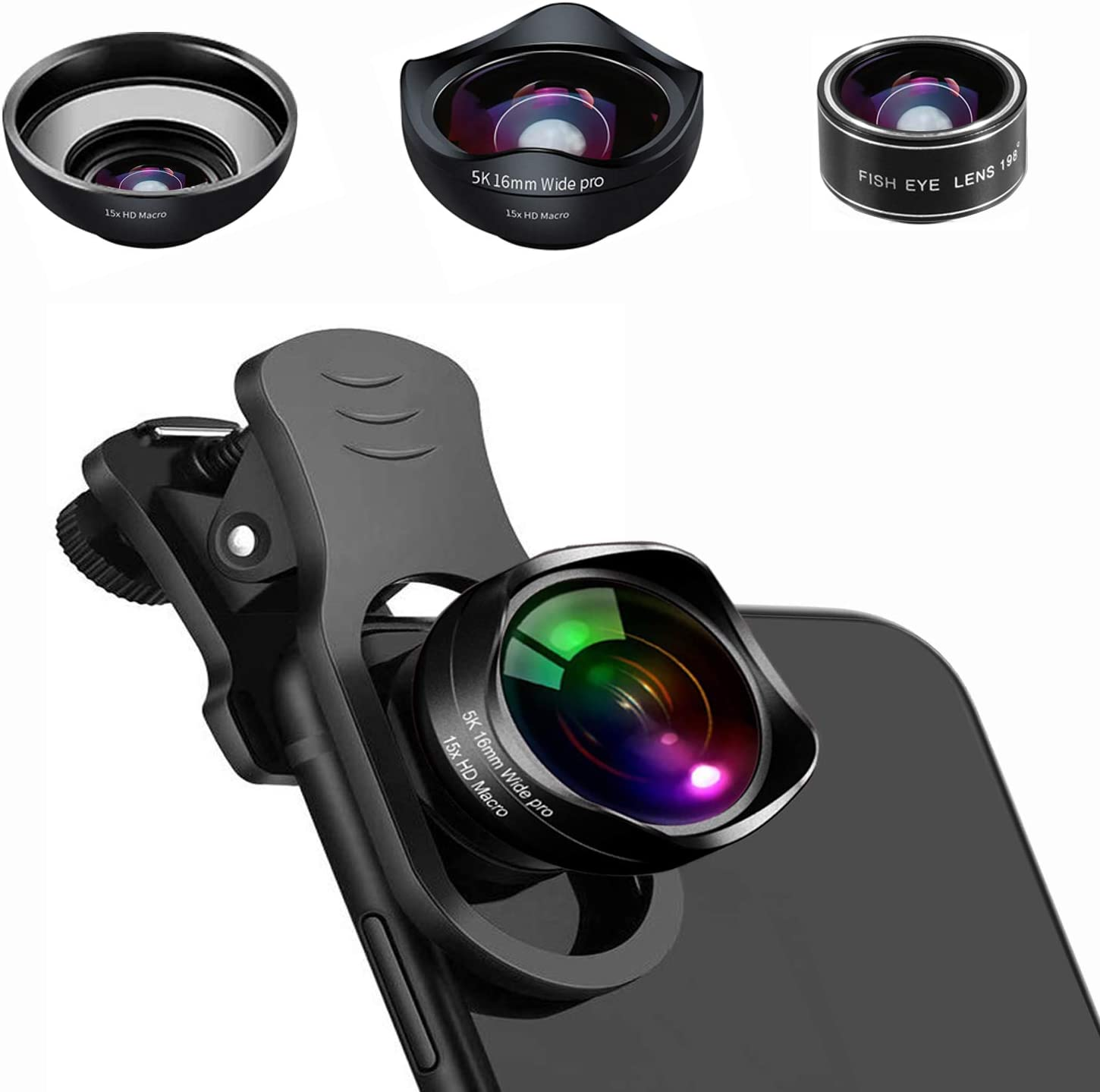 Universal Phone Camera Lens 0.45X Wide Angle Lens for iPhone XR XS X//11//8//7Plus,Samsung,BlackBerry,Android Smartphone 5K HD 3 in 1 Clip On Phone Lens Kit with 198/° Fisheye Lens 15x Macro Lens