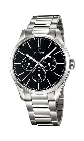 Festina F16810/2 - Reloj de cuarzo para hombre, correa de acero inoxidable color plateado: Amazon.es: Relojes