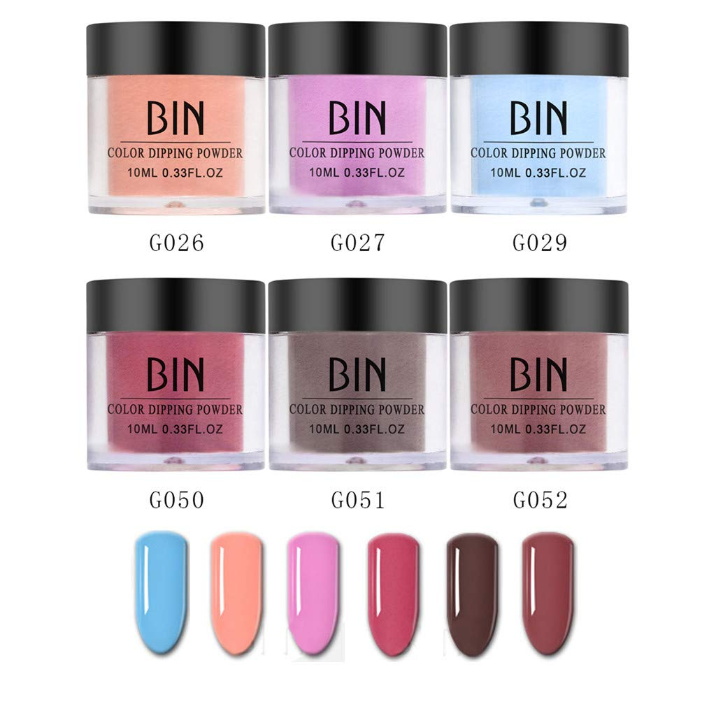 6PCS Nails Dip Powder Without Lamp Cure Natural Dry Nail Art Powder(Glaze), for Both Professional Salons and Beginner, 0.25oz / pot. by gofh