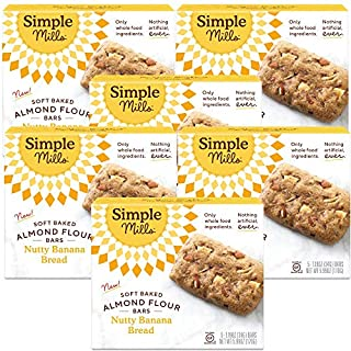 Simple Mills Almond Flour Snack Bars (Nutty Banana Bread) with Organic Coconut Oil, Chia Seeds, Sunflower Seeds, and Flax Seeds, Made with whole foods, 6 Count (Packaging May Vary)