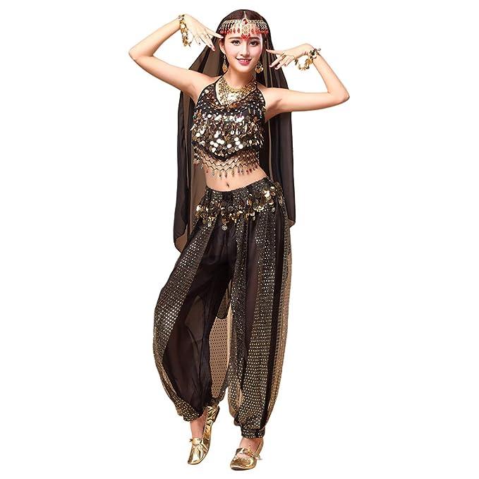 01a0939c0d3c Zhhlinyuan para Mujer Danza del Vientre Disfraz de Gasa Top + ...