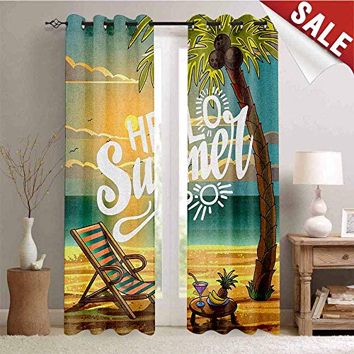Hello Waterproof Window Curtain Seashore with Palm Tree and Chair Illustration with Hello Summer Calligraphy Print Decorative Curtains for Living Room W108 x L108 Inch Multicolor