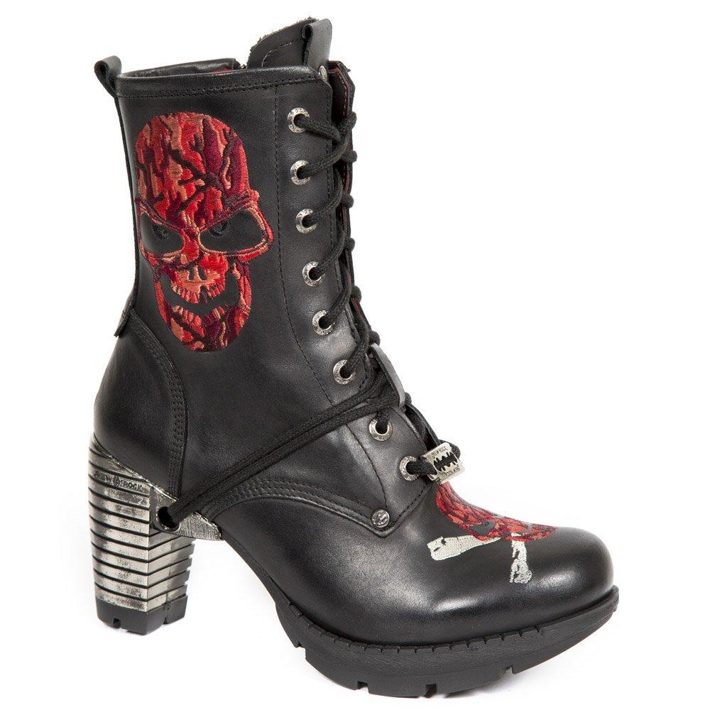 New Rock Rock Rock M.TR079-S2 Mädchen Damen Stiefel Stiefeletten Schwarz Leder Glattleder Ferse Schnüren Punk Heavy Gotisch  553499
