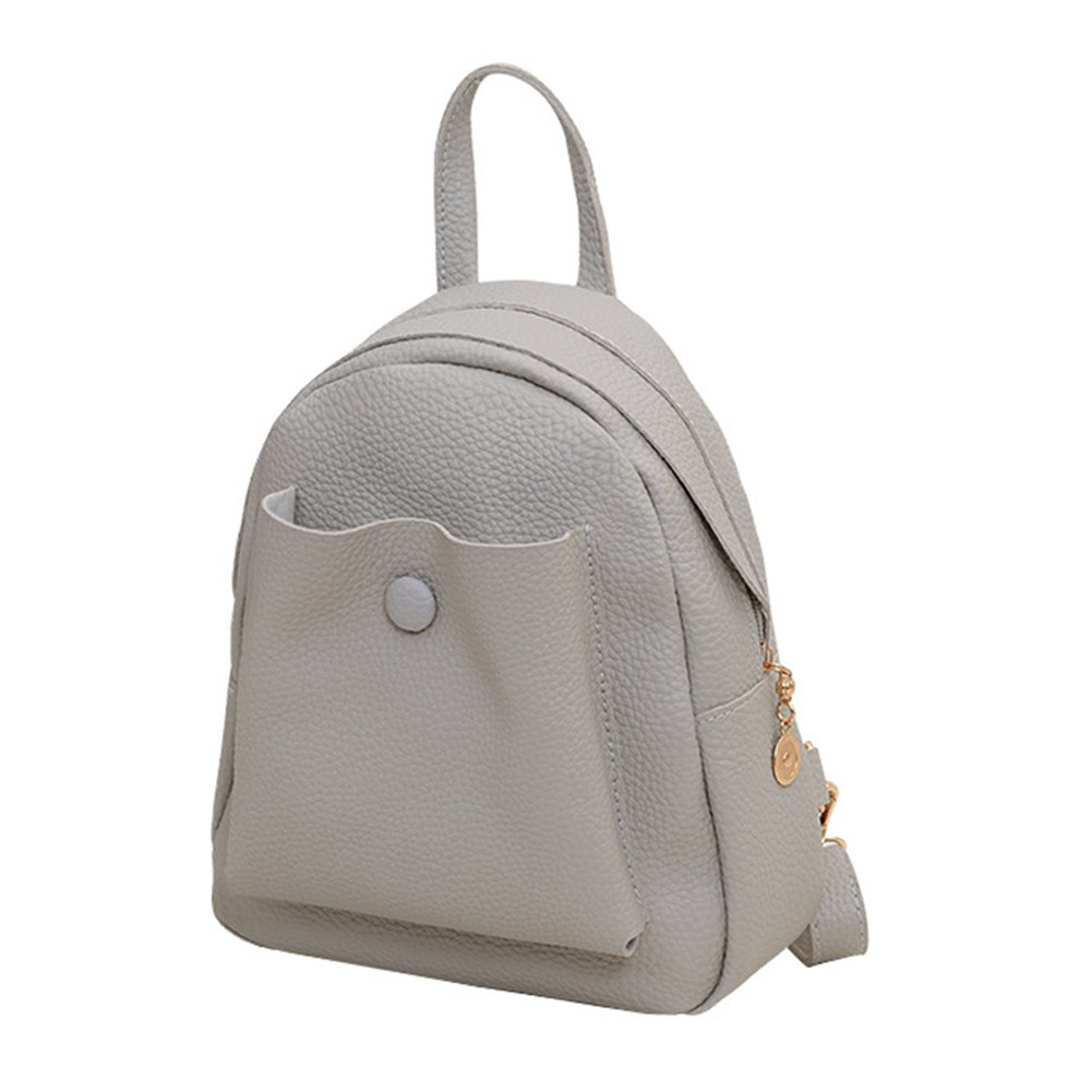 ThinkMax New Fashion Womens Casual Solid Color PU Leather Backpack Girls Daily Schoolbag Shoulder Bag Satchel Gray