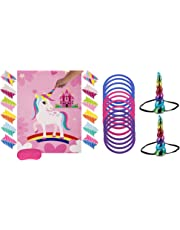 Cooper life Unicorn Party Game Set| Unicorn Ring Toss Game +Pin The Horn on The Unicorn| Birthday Party Favor Games for Kids,Perfect Unicorn Party Supplies