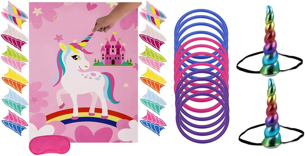 Unicorn Party Game Set| Unicorn Ring Toss Game +Pin The Horn on The Unicorn| Birthday Party Favor Games for Kids,Perfect Gift For Birthday And Christmas.