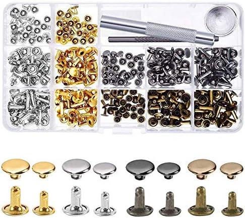 ManLee 240 Pcs Leather Rivets 4 Colors Double Cap Rivet Tubular Metal Studs3 Fixing Set Tools for DIY Leather Craft Gold Silver Bronze Gunmetal Leather?Rivet?Kit 6mm 8mm