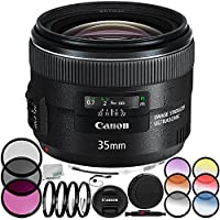 Canon EF 35mm f/2 IS USM Lens 9PC Accessory Bundle - Includes 3PC Filter Kit (UV-CPL-FLD) + 4PC Macro Filter Set (+1,+2,+4,+10) + MORE - International Version (No Warranty)