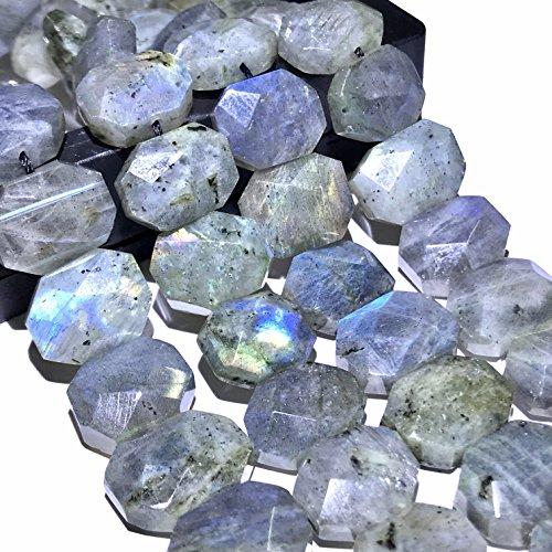 [ABCgems] Brazilian Labradorite 10X14mm Faceted Fancy-Cut Hexagon Beads