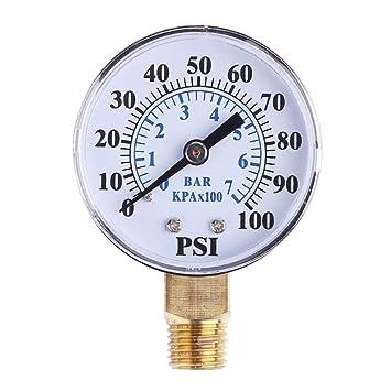 UKCOCO Medidor de presión de vacío para compresor de aire, agua, aceite, gas, 0-100 PSI 0-7 bar: Amazon.es: Bricolaje y herramientas