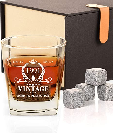Amazon Com 30th Birthday Gifts For Men Vintage 1991 Whiskey Glass And Stones Funny 30 Birthday Gift For Dad Husband Brother Son 30th Anniversary Present Ideas For Him 30 Bday Decorations 12oz