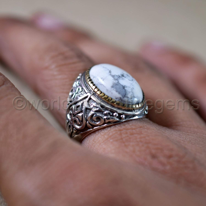 Genuine Stone Jewelry 925 Sterling Silver White HOWLITE Ring Sz 7.75 Birthday Gift From SilverStarJewel Bridal Jewellery Handmade