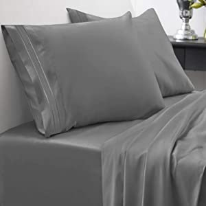 1800 Thread Count Sheet Set – Soft Egyptian Quality Brushed Microfiber Hypoallergenic Sheets – Luxury Bedding Set with Flat Sheet, Fitted Sheet, 2 Pillow Cases, King, Gray