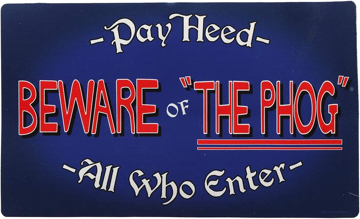 Open Road Brands University of Kansas Beware of The Phog Mat – an Officially Licensed Product Great Addition to Add Your Jayhawk Love to Your Home Garage Decor