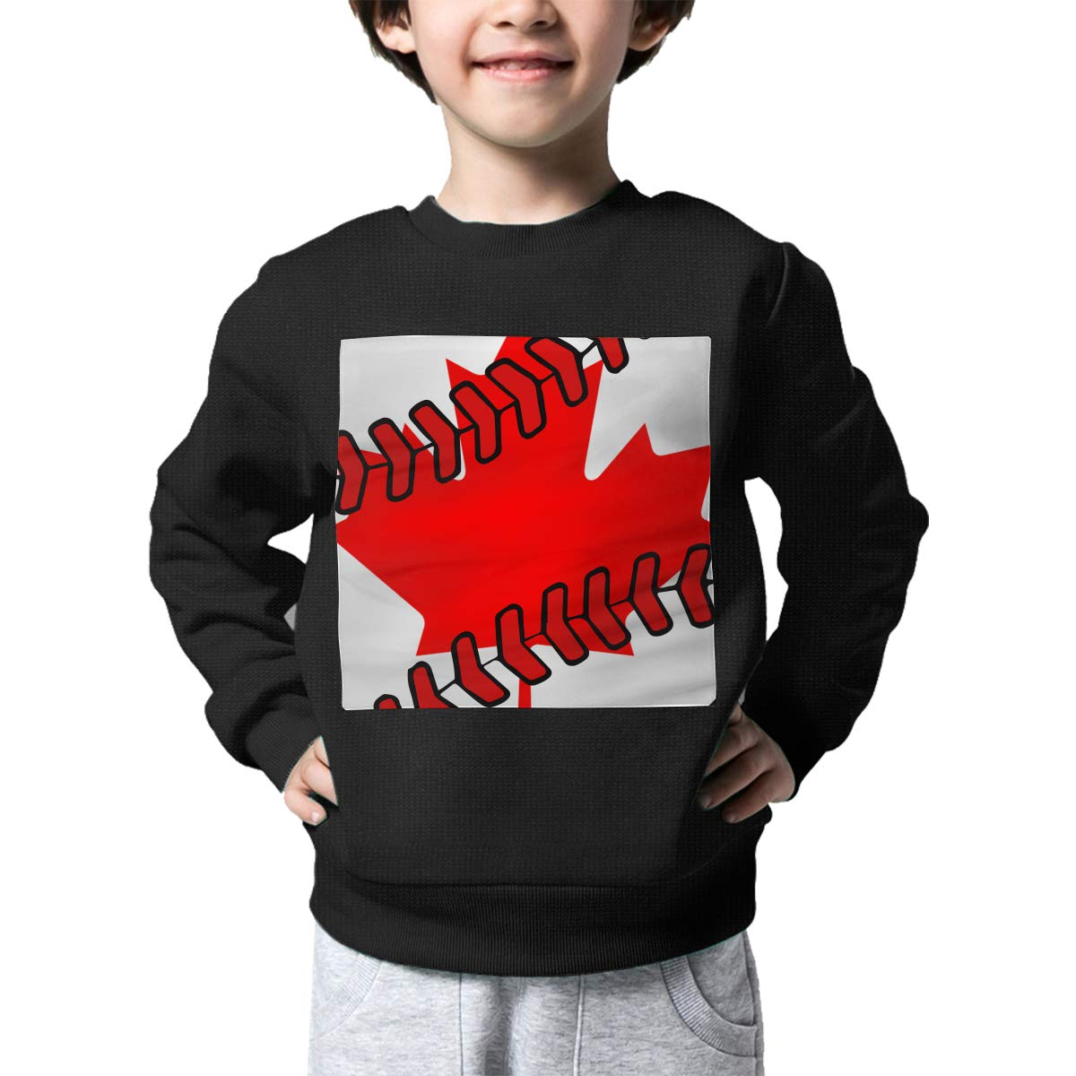 Boys Girls Canada Flag Baseball Clip Art Lovely Sweaters Soft Warm Kids Sweater