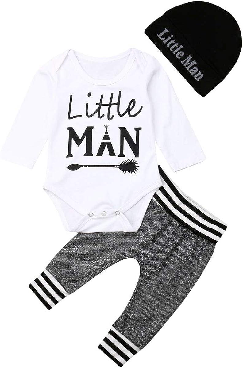 Koloyooya Newborn Baby Boy Clothes Letter Print Jumpsuit + Pants + Hat 3 Piece Set