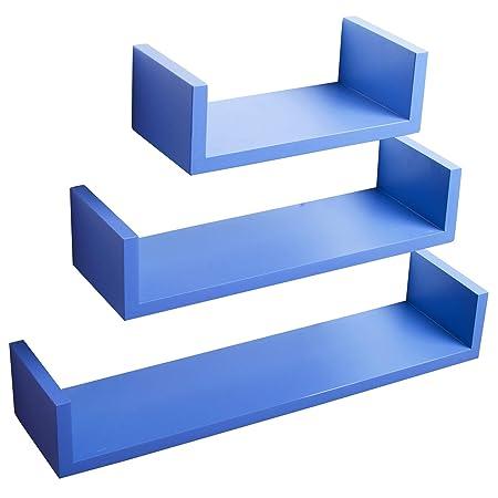 woltu floating shelves dark blue set of 3 u shaped floating shelves rh amazon co uk