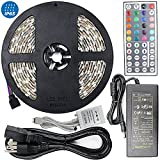 16.4ft RGB Multi-Color Flexible Waterproof(IP-65) Strip Light Kit, 300 LEDs with 44key IR Remote Controller, 3M Adhesive Tape, Plug-and-Play Design as Decorative Lighting for Home and Commercial