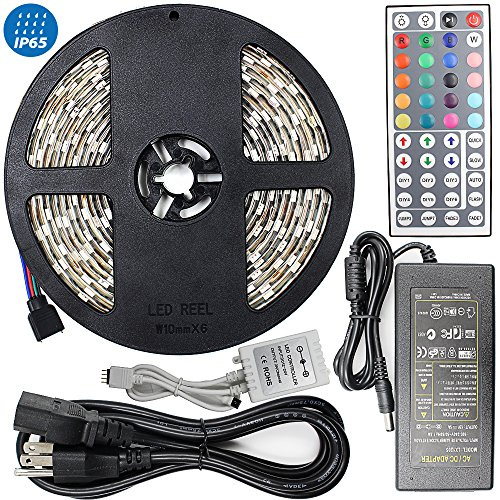 Amazon Lightning Deal 70% claimed: 16.4ft(5M) 5050 300LEDs/pc RGB multi-color Waterproof(IP-65) SMD Flexible Strip light with 44key IR Remote Controller