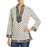 Tory Burch Womens Printed Sequined Tunic Top Ivory 10