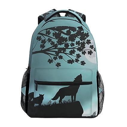 ec08b5b10f6 Backpack Travel Evening Moon Wolf School Bookbags Shoulder Laptop Daypack  College Bag for Womens Mens Boys Girls