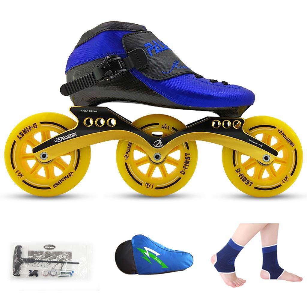 XZ15 ローラースケート、スピードスケートシューズ、レーシングシューズ、子供の大人プロフェッショナルスケート、男性と女性インラインスケート (Color : 青 shoes+黄 wheels, Size : 34)