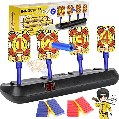 INNOCHEER Electronic Shooting Target Digital Targets for Nerf Guns, Scoring Auto Reset Target Game with 40 Pcs Darts, Ideal Gift Toy for Kids-Boys & Girls