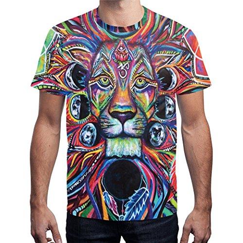 Exl Series (JIONS Lion 3D Printing Tees T-Shirt Beach Fashion Mens Clothing Series 5 Types Lion E-XL)