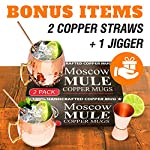Benicci SYNCHKG100599 Moscow Mule Copper Mugs - Set of 2 16 Ounce Mug with 2 Copper Straws and 1 Jigger, Hammered and Handcrafted 9 ✓ 100% food safe & pure Copper - just like the original 1941 mule: Benicia Copper mugs are not only Authentic but also safe. It went through a comprehensive third party safety and quality tests to make sure that it is food safe. Because we want you to 100% Enjoy your Moscow Mule without worries. ✓ impressive handcrafting - no two are the same: you already know proper handcrafted Moscow mule mugs are as stunning as they are functional. Enjoy your 100% authentic mule cups with a polish finish, you deserve them. ✓ Copper mugs Set of 2 - 12-month Guarantee & gift with purchase: order your Set of 2 Copper mugs today and receive free 2 pure Copper straws and measuring jigger. We're so happy with the craftsmanship on our mugs you get a 12-month money back Guarantee. Order now.