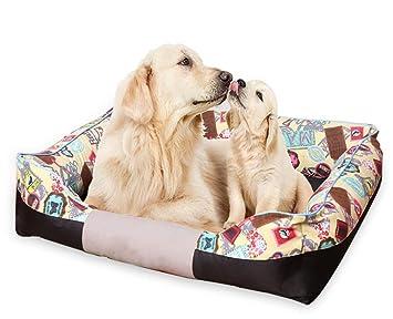 QZX Cama Cuadrada para Perros Suave Comodo con Parte ...