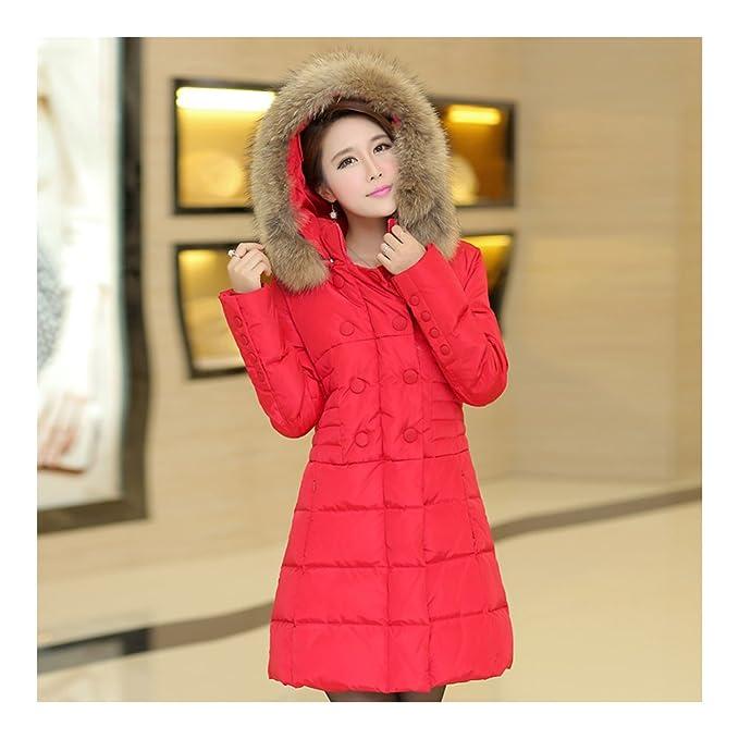 Plus Size cuello de piel slim de grosor Down Abrigo Rojo, envolvente, Mujer, color multicolor, tamaño Small: Amazon.es: Ropa y accesorios