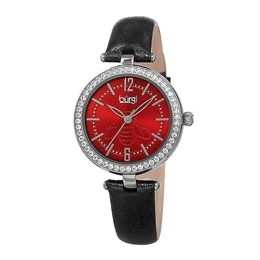 BurgiBUR235 - Reloj de Pulsera para Mujer, diseño de circonita cúbica, Correa de Piel metálica, diseño de Insectos, Grabado en la Esfera de Rayos de Sol: ...