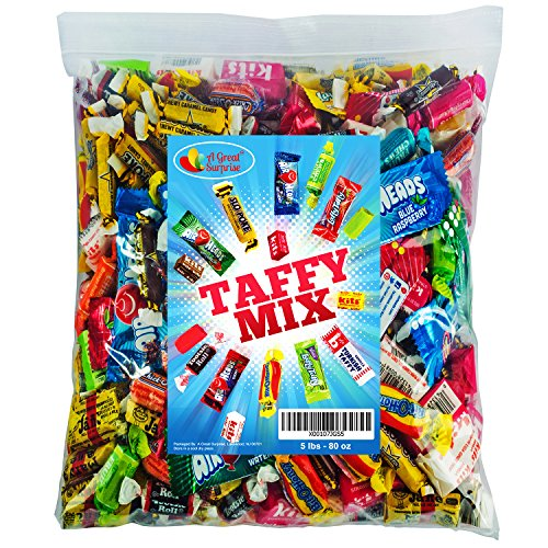 Assorted Candy Taffy Party Mix - Bulk Candy - 5 LB Bulk Bag: Laffy Taffy, Kits, Airheads, Tootsie Rolls, Salt Water Taffy and Much More of Your Favorite Taffies! -